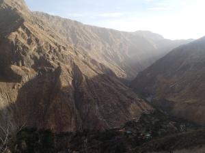 Arequipa - Tour au Cañon del Rio Colca: et maintenant on redescend tout en bas vers notre petit oasis ...le chemin en zigzag sera une partie de la remontée du lendemain