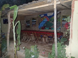 Arequipa - Tour au Cañon del Rio Colca: la salle à manger au chandelle car ici pas d'électricité, comme bien d'autre trek