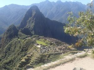 """Une des plus belle photo prise du chemin venant du pond...Le nez du bonhomme Inca est la montagne """"huayna picchu"""" limitée à seulement 400 visiteurs par jour alors que le site principal est limité à 2500 visiteurs. On n'a pu y aller car c'était complet sur plusieurs jours..."""
